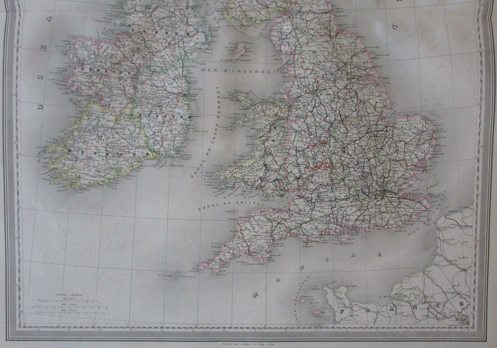 British Isles Ireland England Wales Scotland 1858 huge Dufour antique map