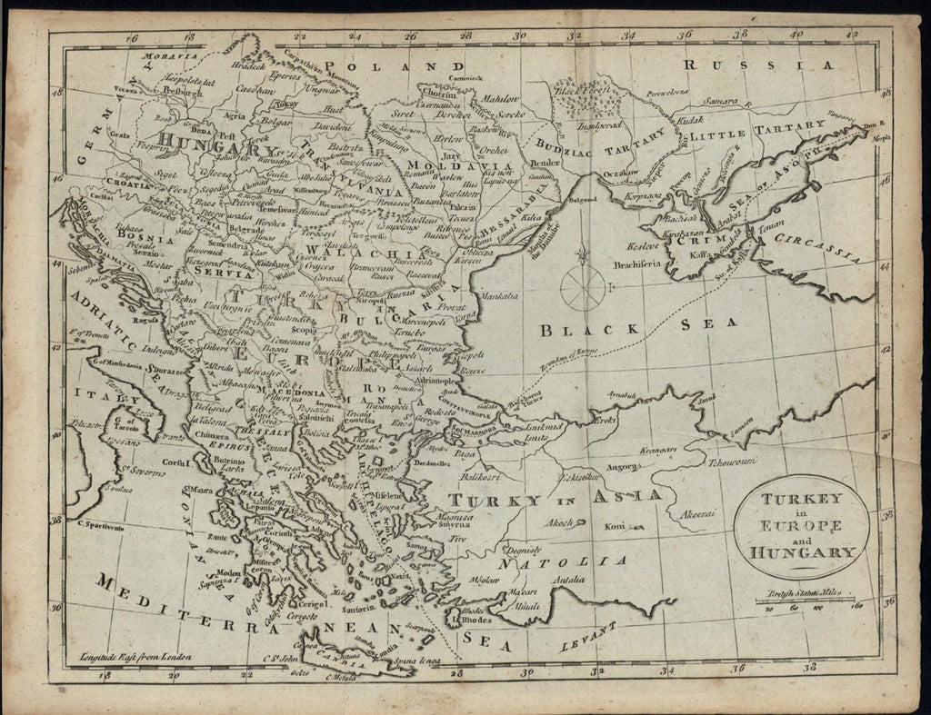 Turkey in Europe Hungary Black Sea Bulgaria 1788 Kitchin antique engraved map