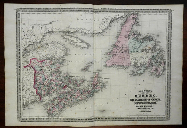 Maritime Provinces Newfoundland New Brunswick Nova Scotia 1866-79 AJ Johnson map