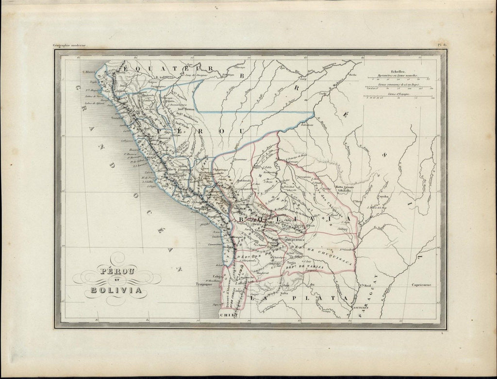 Peru Bolivia Rivers Andes Mountain Range nice 1846 uncommon antique color map
