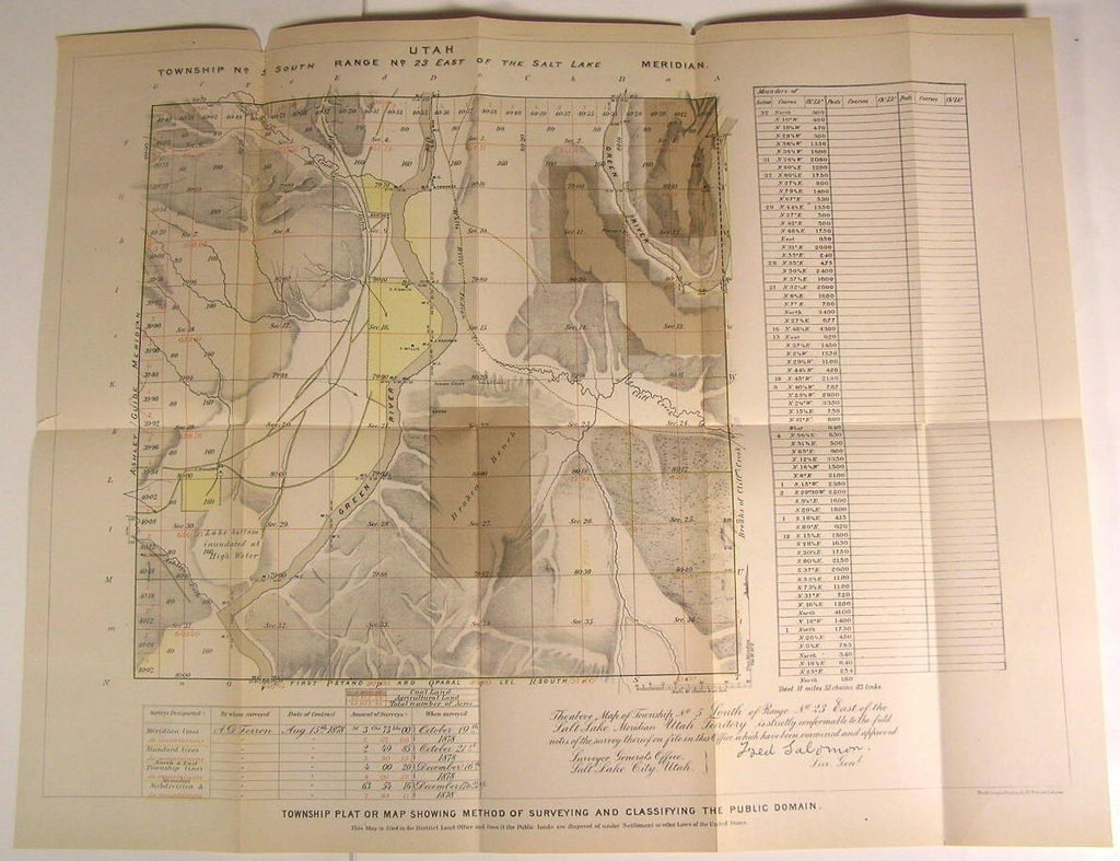 Utah Township Plat Public Domain Survey nice c. 1879 U.S.G. old state survey map