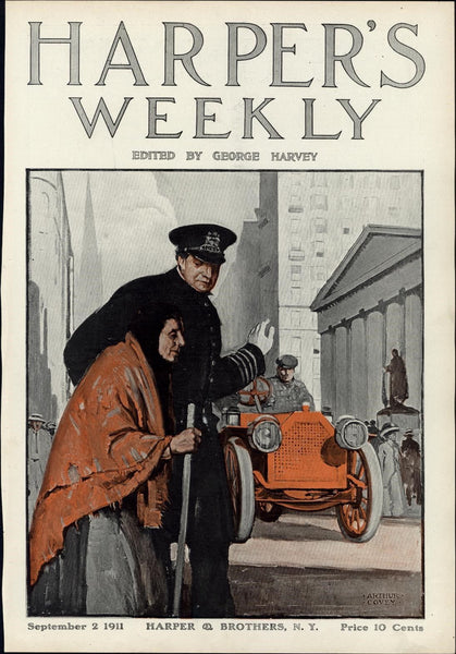 early Auto Police Officer Crossing Street 1911 color Harper's cover print