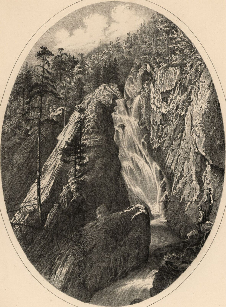 Lana Cascade Lake Dunmore Salisbury Vermont 1861 lithographed view print