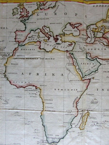 Australia Eastern Hemisphere 1798 by van Baarsel Explorers tracks antique map