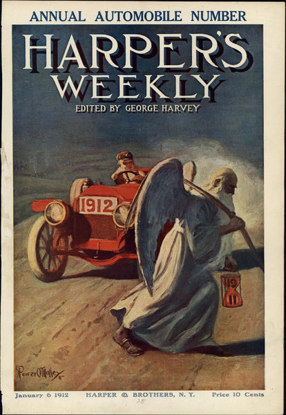 New Year Automobile car baby driver Time 1912 vintage Harper's color print