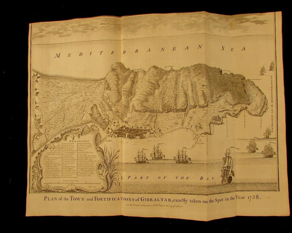 Gibraltar Spain England Town city fortifications c.1740 Basire engraved war map