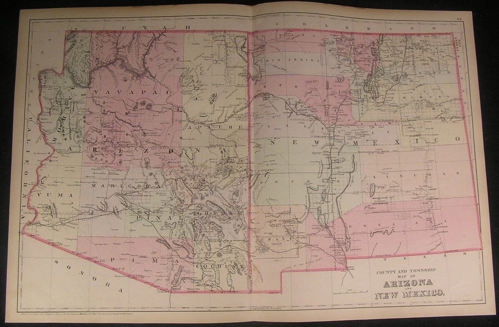 Arizona & New Mexico states 1882 old vintage antique Mitchell hand color map