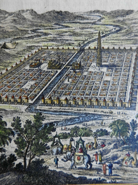 Ancient Babylon Tower of Babel Hanging Gardens 1683 Mallet bird's eye view