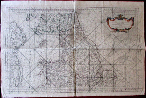 northern England Scotland Wales Ireland 1760 Bellin rare huge sea chart map