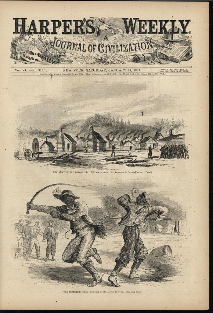 Army Huts Duel 1863 antique Harpers Civil War print