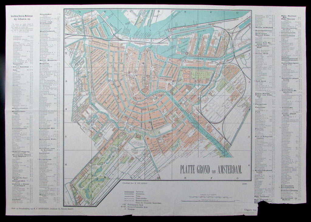 Amsterdam city plan 1890 Seyffardt's Holland Netherlands antique big pocket map