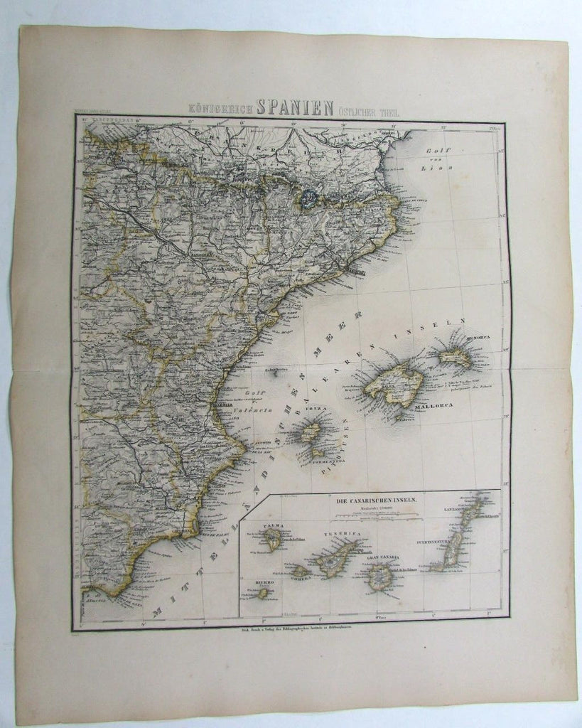 coastal Spain Canary islands inset Mallorca Ibiza scarce 1873 antique German map