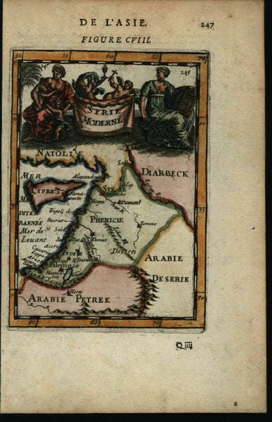 Syrie Moderne Syria Arabia Palestine Cyprus 1683 Mallet miniature decorative map