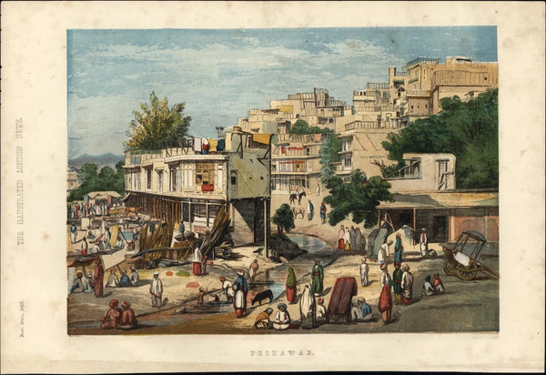 Peshawar Pakistan Khyber 1857 rare beautiful color lithographed city view print