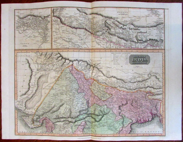British India Nepal detailed large inset Cabul 1817 Thomson engraved map