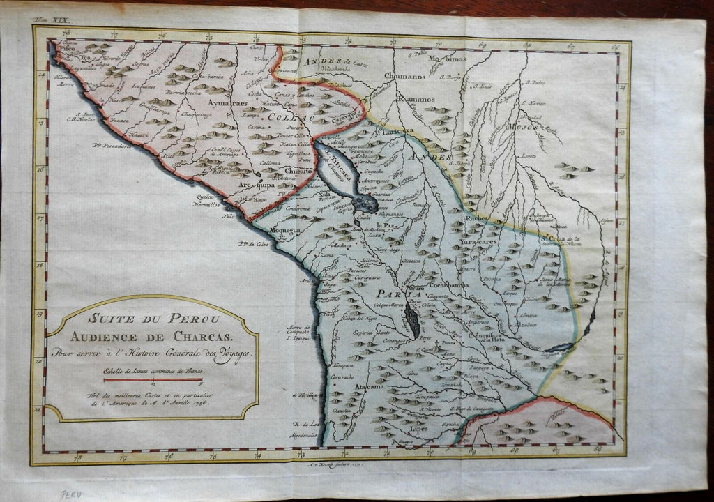 Peru & Bolivia Andes Mountains La Paz Lake Titicaca 1772 Bellin engraved map