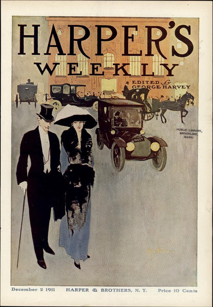 Automobile wealthy couple city life cars 1911 vintage newsprint color cover
