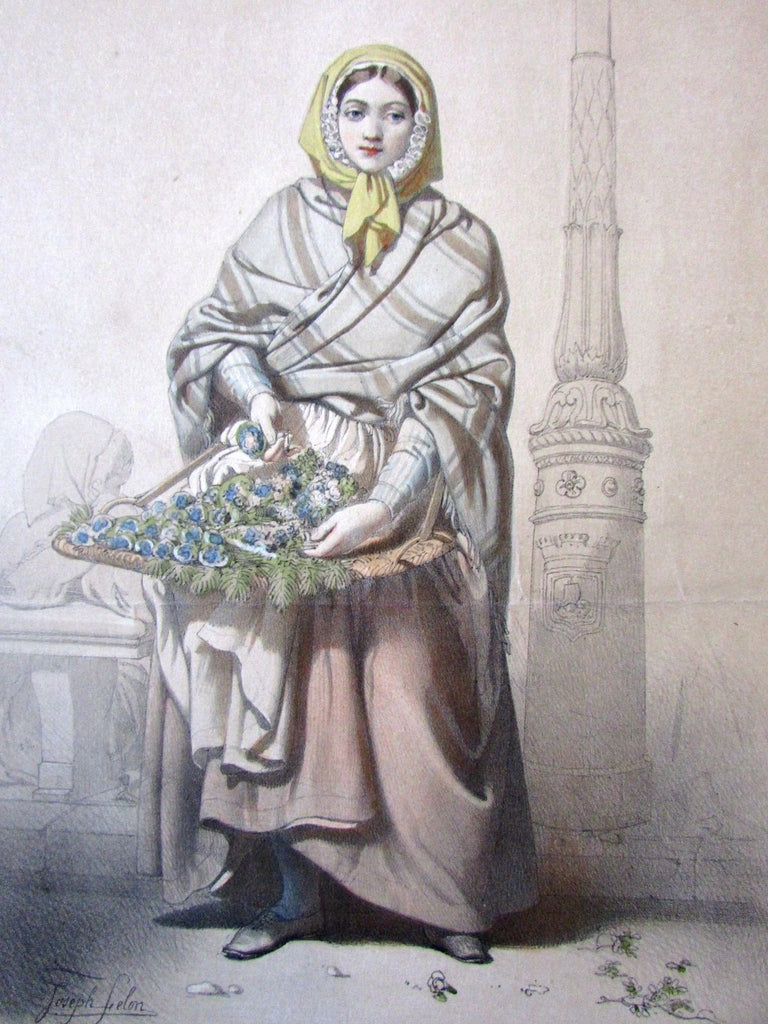 Flower merchant woman maiden Marchande de Violettes 1850 color lithograph print