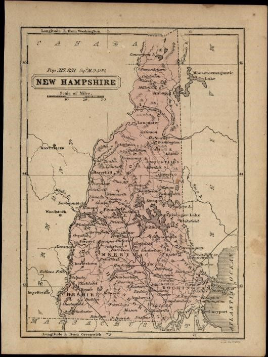 New Hampshire c.1855-60 scarce Boynton old hand color map