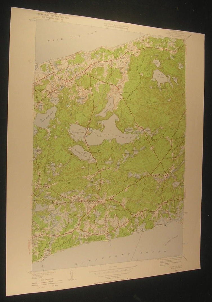 Harwich Witchmere Harbor Massachusetts 1957 antique color lithograph map