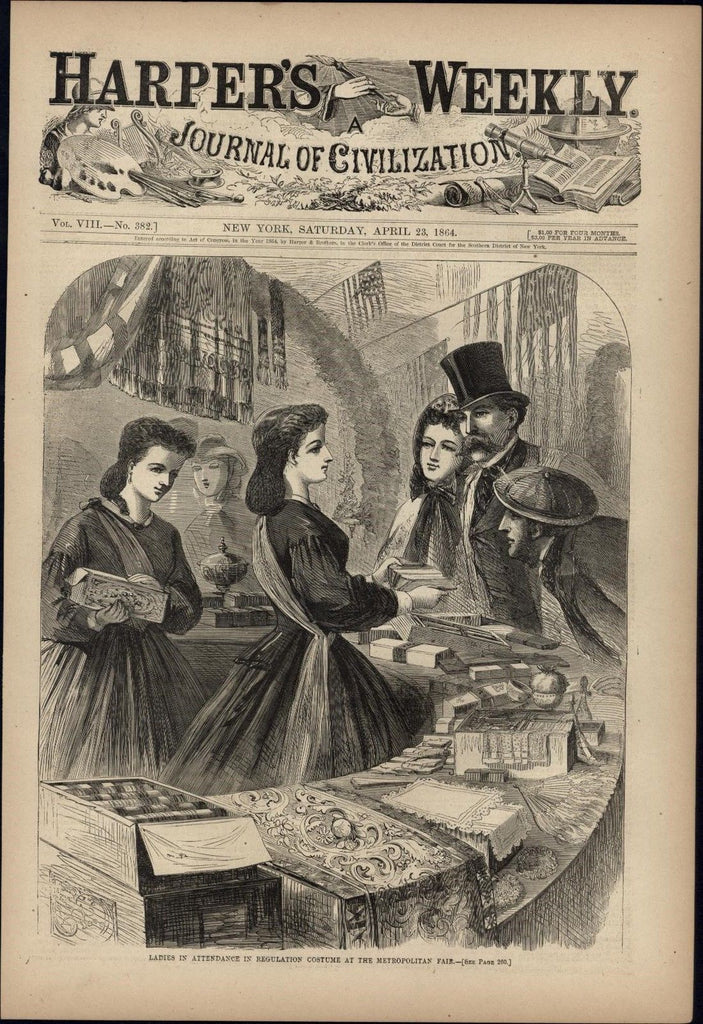 Ladies in Costume at Metropolitan NYC Fair 1864 antique Harpers Civil War print