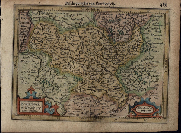 Brunswick Germany Meydburg antique beautiful c.1628 Mercator minor old map
