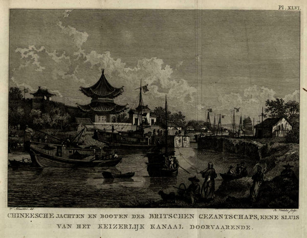 Chinese trading boats British settlement colony China 1801 Allart Dutch view