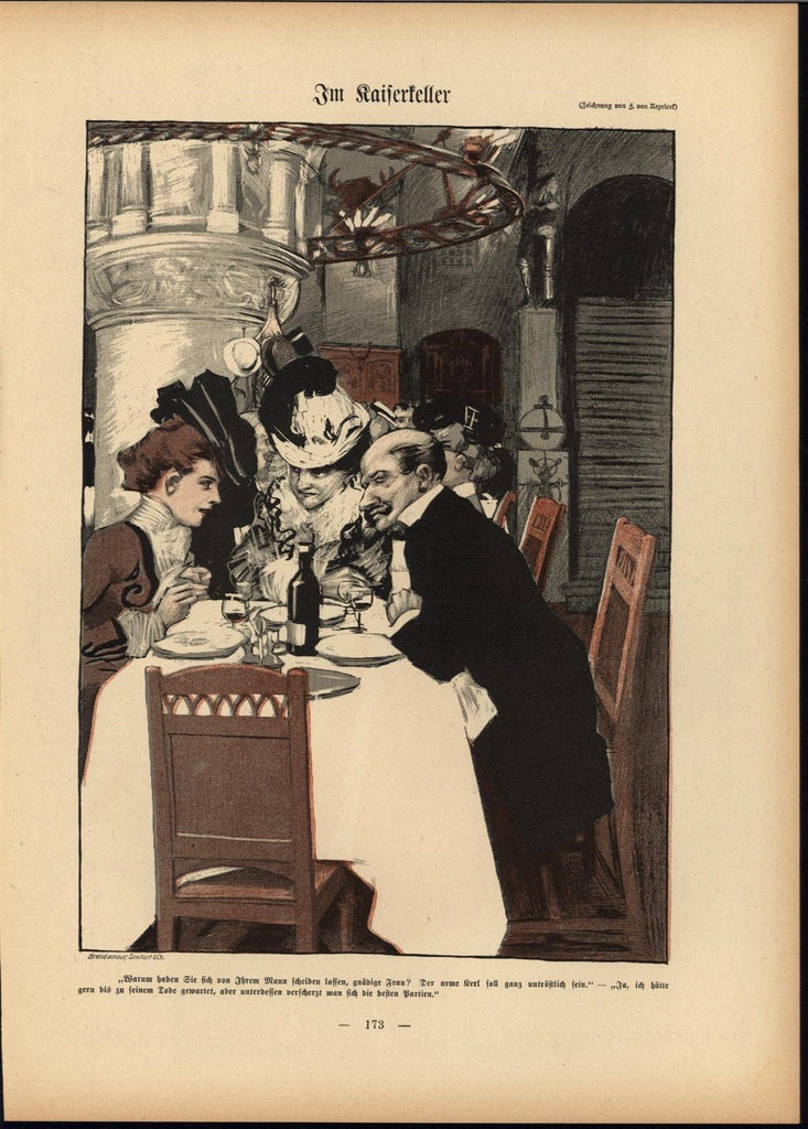Wealthy Diners Luxurious Meal 1901 antique Art Nouveau color lithograph print