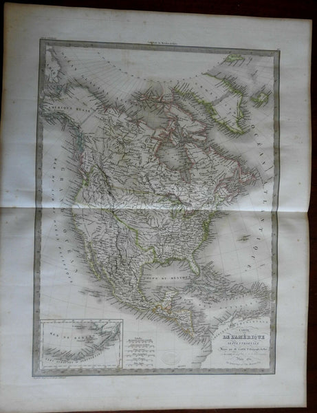 North America Oregon Territory into BC Canada 1829 Lapie large folio map