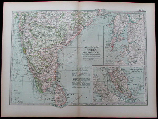 Southern India Bombay Ceylon Mysore Malay Sri Lanka 1897 old detailed color map