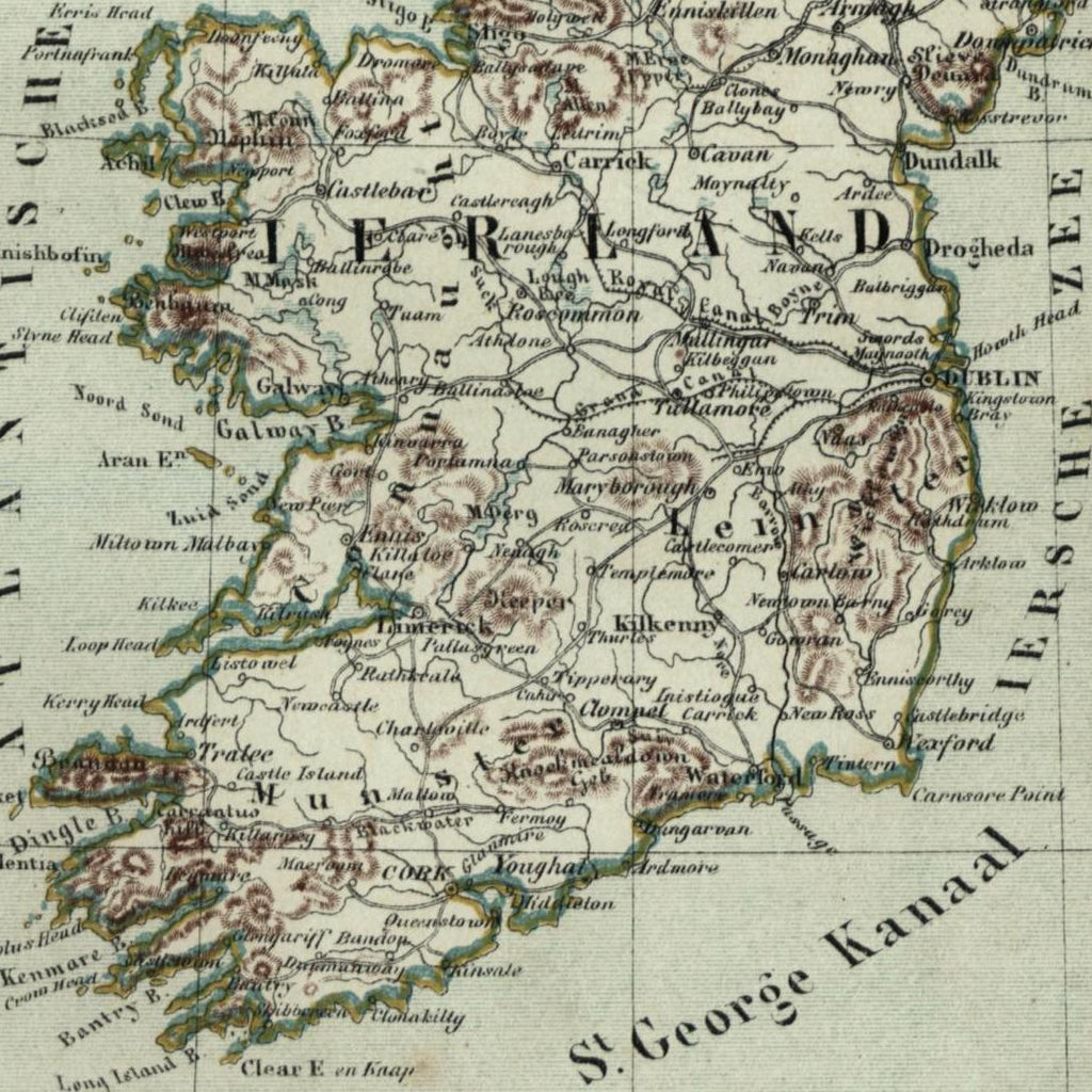 Ireland Ierland 1882 charming small Dutch old map