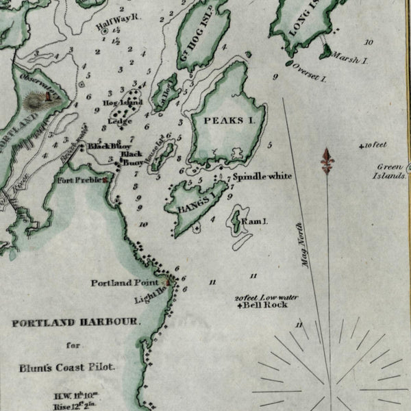 Portland Harbour Maine 1854 Blunt nautical chart lovely hand colored map