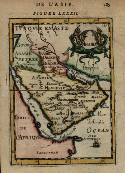 Saudi Arabia dragon cartouche 1683 Mallet miniature map hand colored wonderful!
