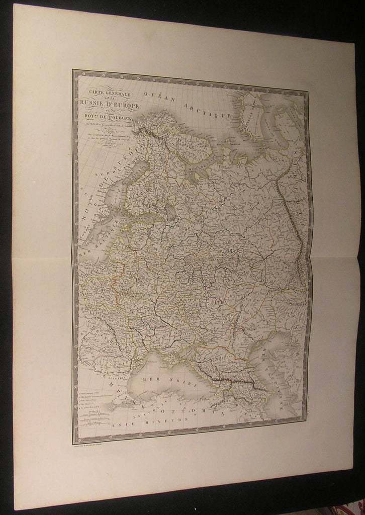 European Russia Poland Gulf of Finland 1821 large scarce Brue hand color map