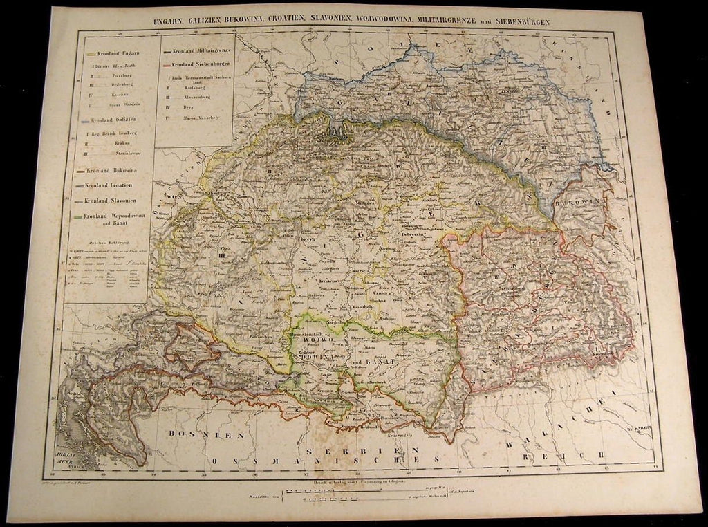 Hungary Galicia Croatia Slovenia Transylvania 1855 Flemming old antique map