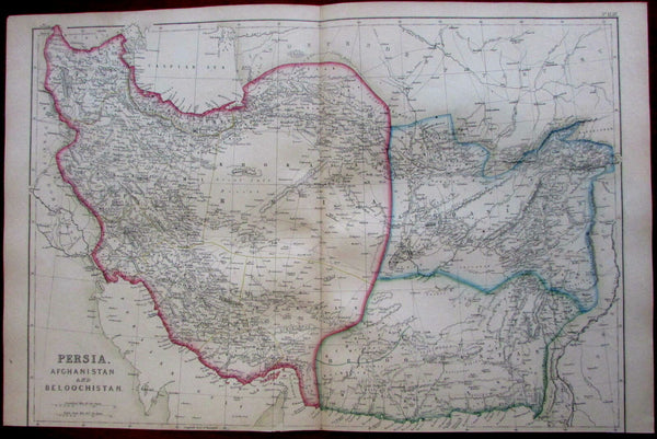 Persia Iran Afghanistan Baluchistan 1860's Weller detailed antique map
