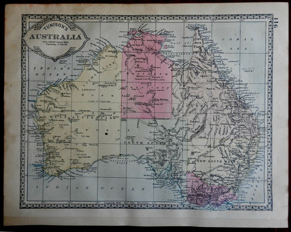 Australia New South Wales Victoria Queensland 1892 Tunison engraved map
