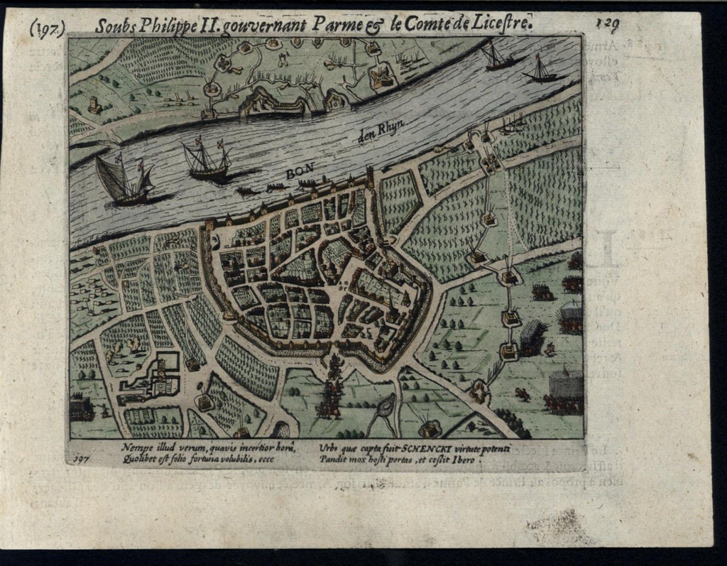 Bonn Germany 1616 Colijn rare antique engraved hand color city plan battle map