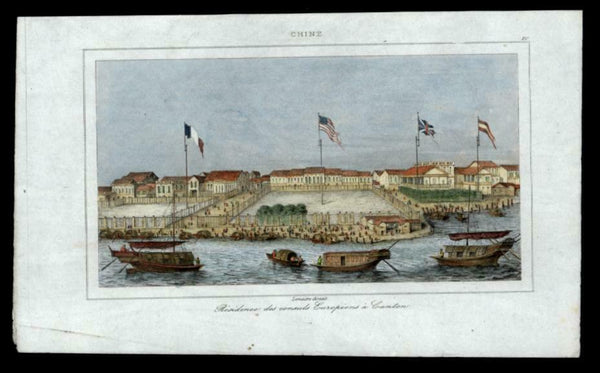 Canton China c.1840 European Consul residence trading port hand colored print