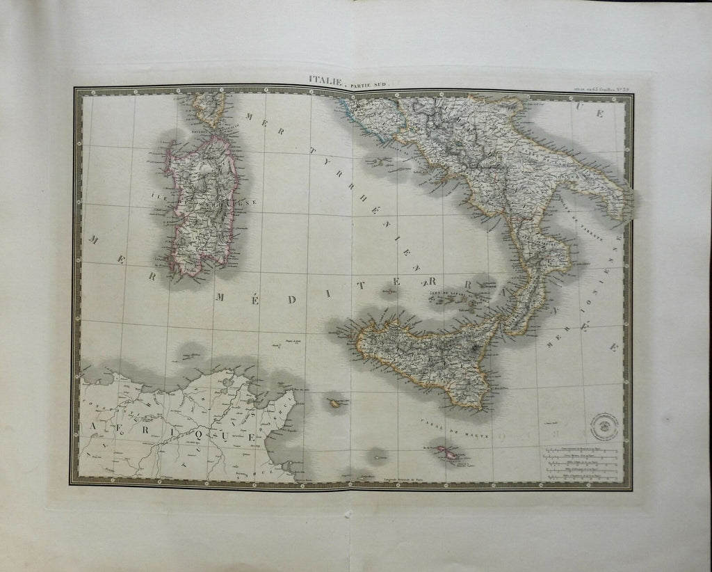 Southern Italy Sicily Malta Sardinia 1836 Brue large detailed map hand color