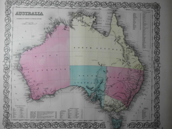 Australia large Lake Torren hook empty interior 1855 Colton map hand color