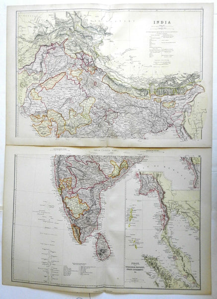 India British Raj Calcutta Bombay Dehli Southeast Asia 1882 two sheet map