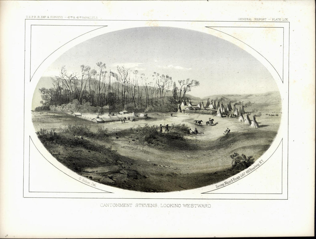Cantonment Stevens Fort Tepees Indians nice c. 1855 original antique view print
