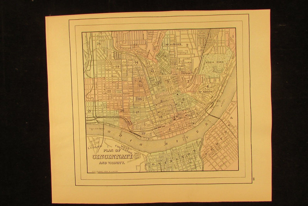 Cincinnatti Ohio city plan 1894 detailed antique hand colored Wannamaker old map