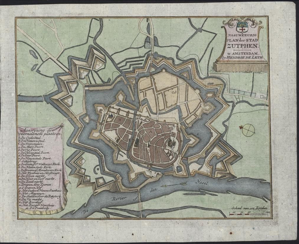 Zutphen Netherlands Holland c.1740 antique De Leth engraved hand color city plan