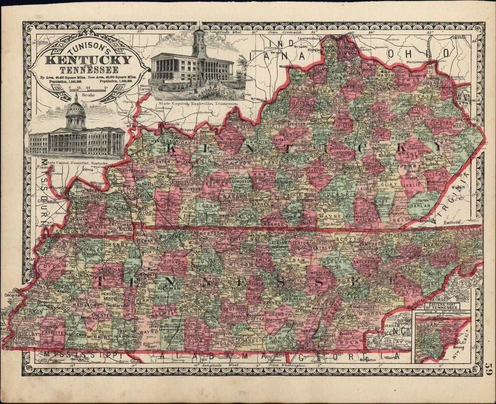 Kentucky & Tennessee state maps Capitol vignettes c.1882 hand color old map