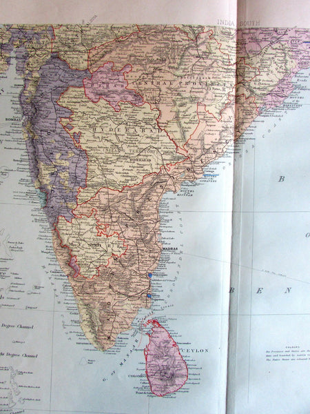 India south Caylon Lower Burmah Siam c. 1890 huge Stanford old engraved map