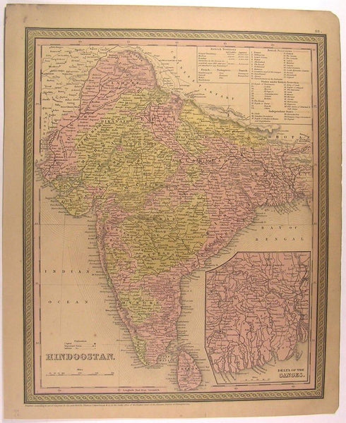Hindoostan India Ganges River Delta Ceylon 1850 Mitchell antique color map