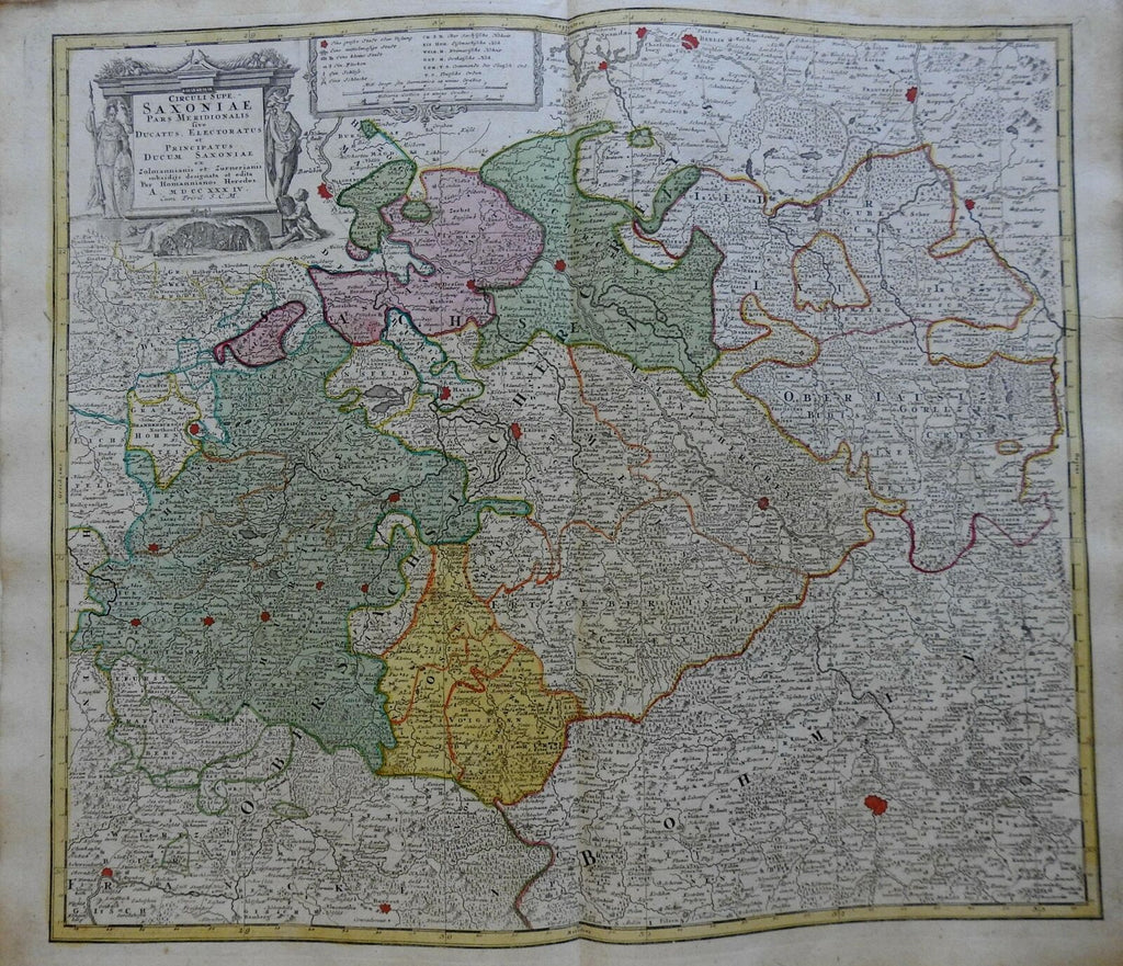 Electorate of Saxony Holy Roman Empire Circle Germany 1740 Homann decorative map