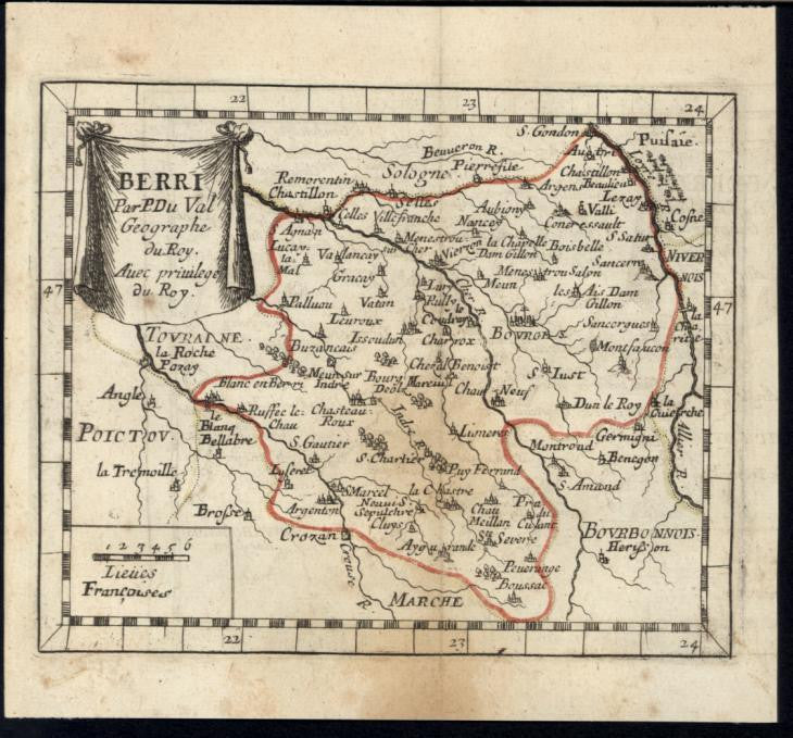 Bourges Dun le Roy Berry Central France 1730 antique engraved hand color map